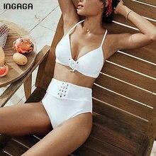 INGAGA New Solid Bikini Sexy Halter Swimwear Women High Waist Swimsuit Lace-up Bathing Suit Women 2019 Brazilian Bikini