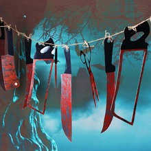 12pcs/lot Halloween Blood Knife Banners Horror Haunted House Hanging Garland Flags Halloween Party Decoration Props Accessories