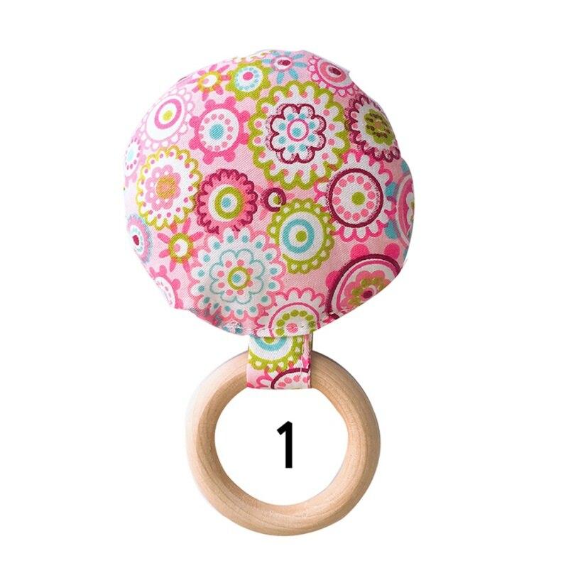 Портативный для новорожденных Детское Зубное кольцо жевательные Прорезыватель для зубов ручной безопасная, из дерева натуральное кольцо молочных зубах упражняющая игрушка в подарок - Цвет: A