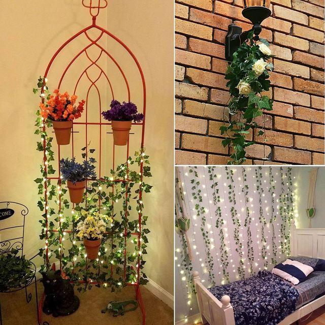 12pcs 2M Ivy green Fake Leaves Garland Plant Vine Foliage Home Decor Plastic Rattan string Wall Decor Artificial Plants 3