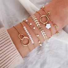 6 pçs/sets boêmio pulseira conjunto para feminino pequena flor folha cadeias bangle boho jóias encantos 2021 presentes do dia dos namorados