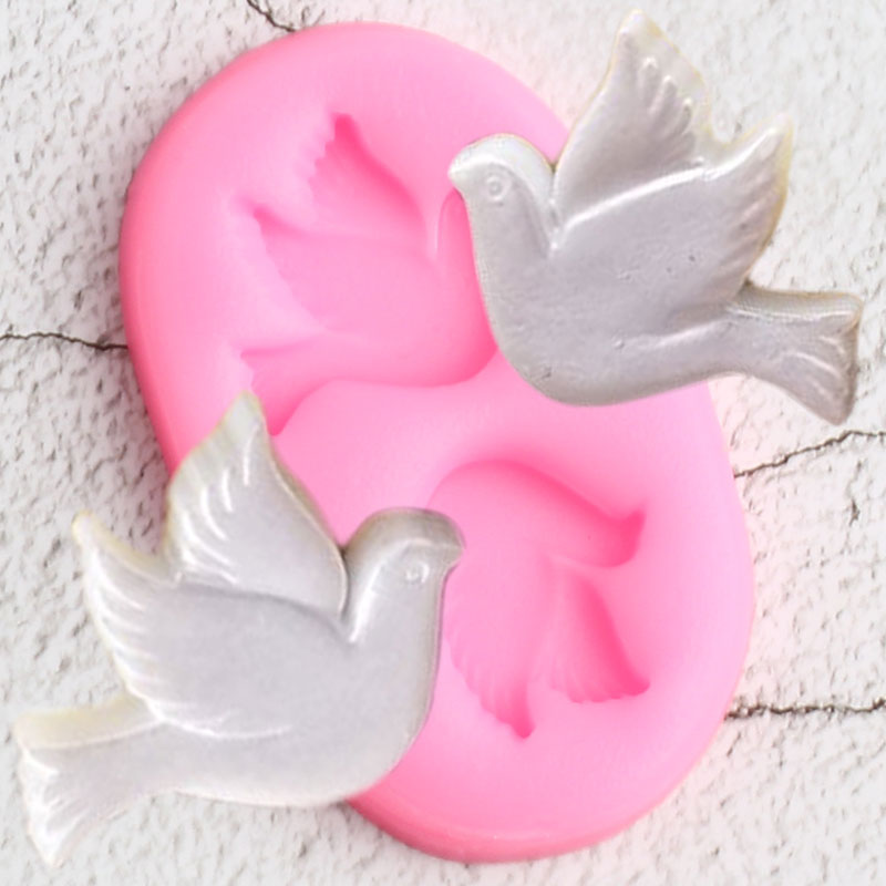 3D Doves Birds Silicone Molds Pigeon Cupcake Topper Fondant Mold DIY Wedding Cake Decorating Tools Candy Clay Chocolate Moulds