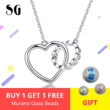 Valentine Day Gift 925 Sterling Silver Heart Connect Circle Couple Heart Pendant Necklace for Lover Silver Jewelry недорого