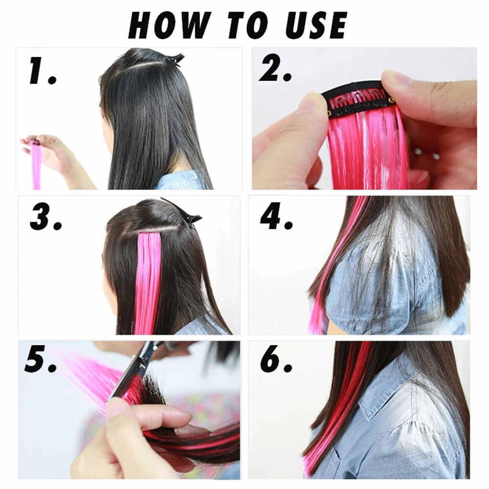 """Pageup Clip de extensión de pelo Arco Iris una pieza sintético de color falso piezas de cabello Rosa largo 20 """"Clip falso en extensiones de cabello"""