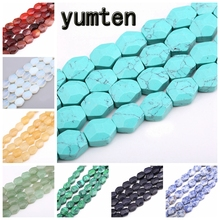 Yumten Radiant Shape Turquoise Bead 11mm*12mm Natural Agate Chalcedony Lapis Lazuli Rainbow Jewelry Making DIY Necklaces