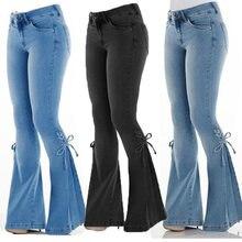 Женские джинсы со средней талией и поясом повседневные модные