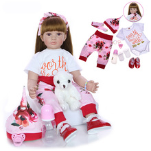 24 Inches Reborn Doll Full Body Silicone Babies Bath Toy Lifelike Newborn 60 cm Princess Baby Lovely Christmas