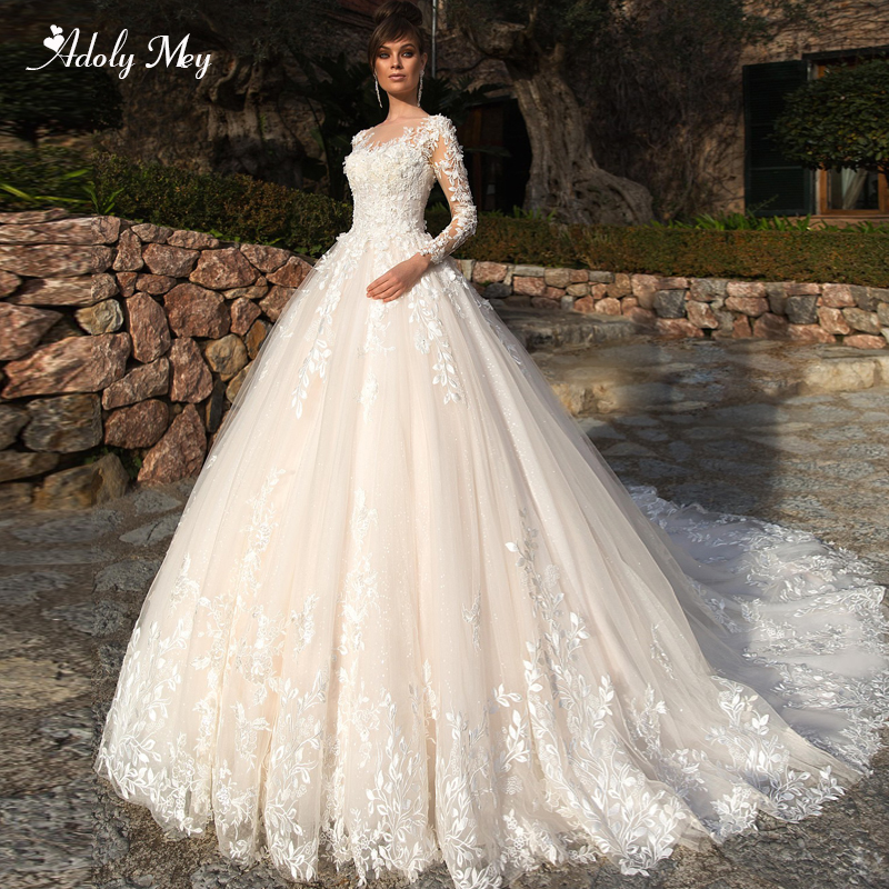 Adoly Mey Design Gorgeous Appliques Flowers Beaded A-Line Wedding Dresses 2020 Elegant Scoop Neck Long Sleeve Vintage Bride Gown