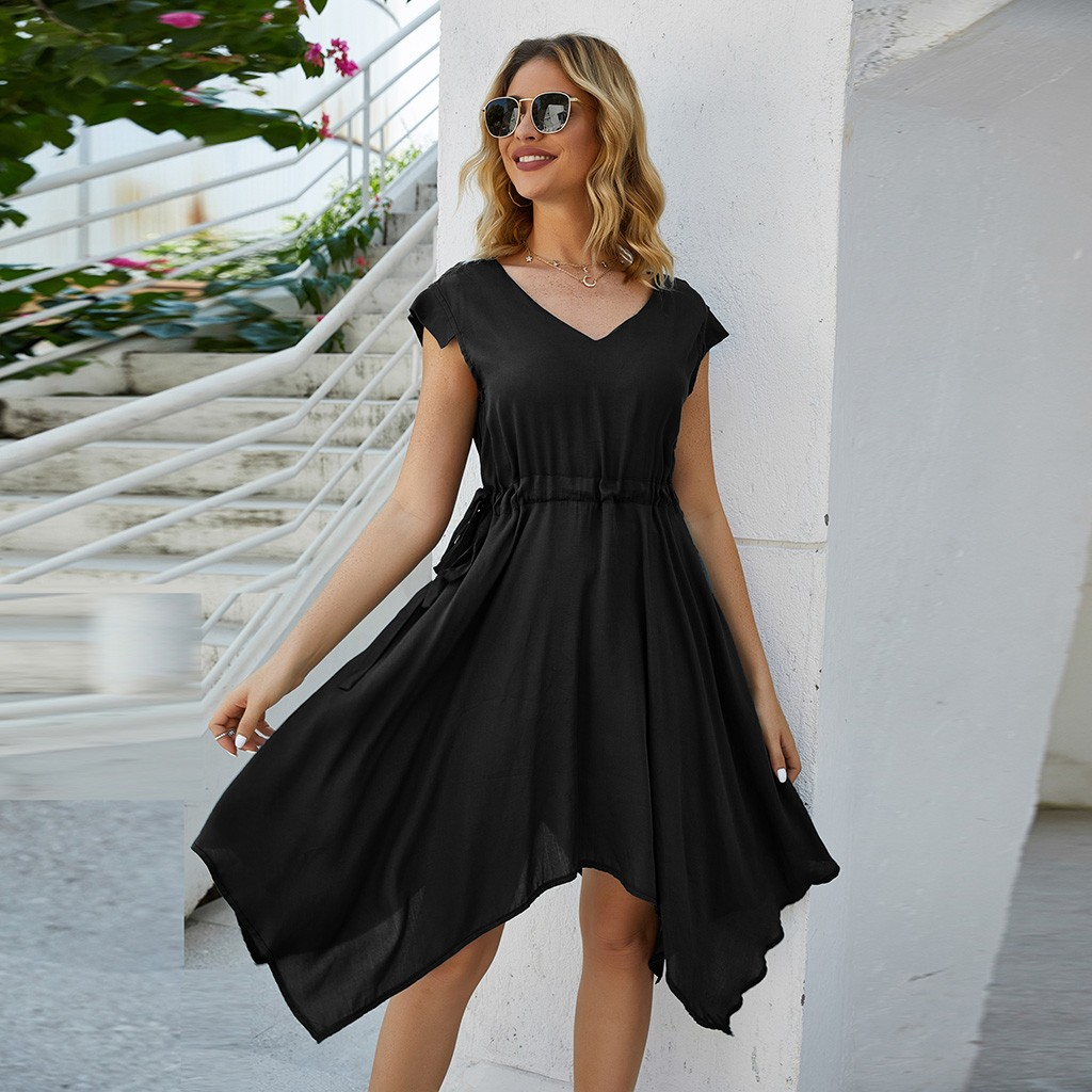 2020 Summer Women Solid A-line Short Sleeve Party Dress V Neck Plus Size Casual Shirt Dress Chic Fashion Dropshipping#J30