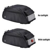 10L Bike Rack Bag Waterproof Cycling Bike Rear Seat Cargo Bag Bike Trunk Pack Shoulder Carry Bag with Taillight