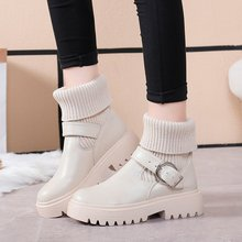 2019 New Buckle Winter Motorcycle Boots Women British Style Ankle Boots Gothic P