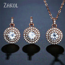 ZAKOL High Quality Cubic Zirconia Round Stud Earrings Pendant Necklace Set Bridal Jewelry for Women Anniversary Gift FSSP3030(China)