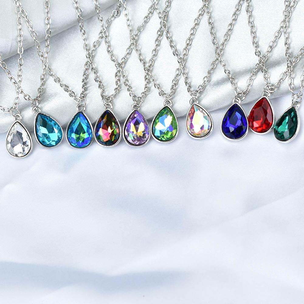 Простое ожерелье с подвеской в виде капли воды с красными, синими и белыми кристаллами, Женская цепочка серебряного цвета, чокеры, ювелирные...