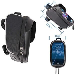 Image 3 - الدراجة دراجة للماء هاتف محمول حقيبة حامل MTB الجبهة إطار كيس أنبوب حالة 6.0 بوصة المعطف السرج حقيبة دراجة