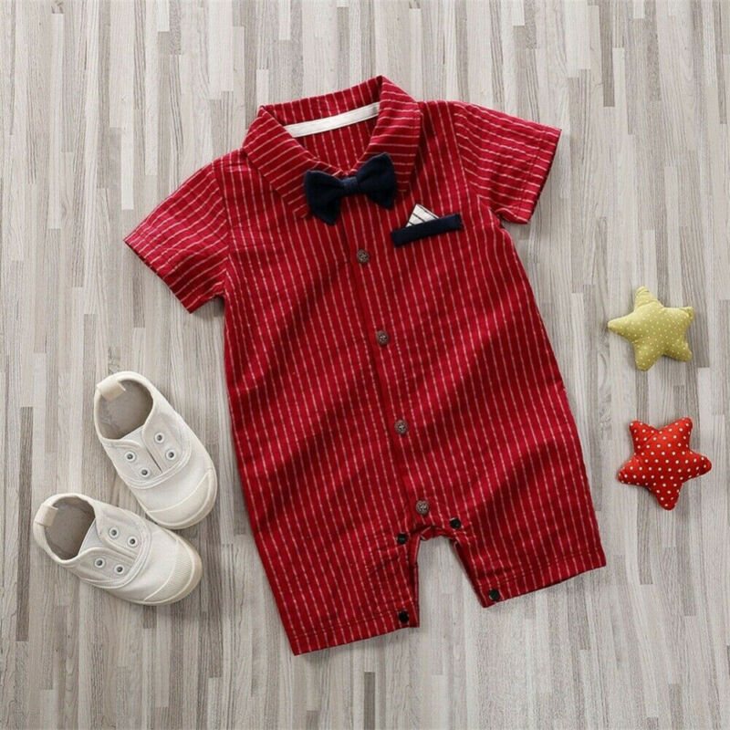 Handsome Newborn Baby Boy Romper One Piece Stripe Jumpsuit Rompers For Infant Boy