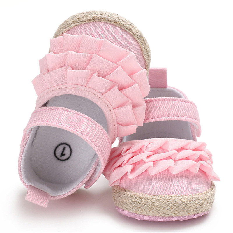 Three-Layer Pleated Newborn Shoes Blue Pink Cute Princess Baby Girl Sandals Non-Slip Casual Soft Crib Walkers Toddler Baby Shoes