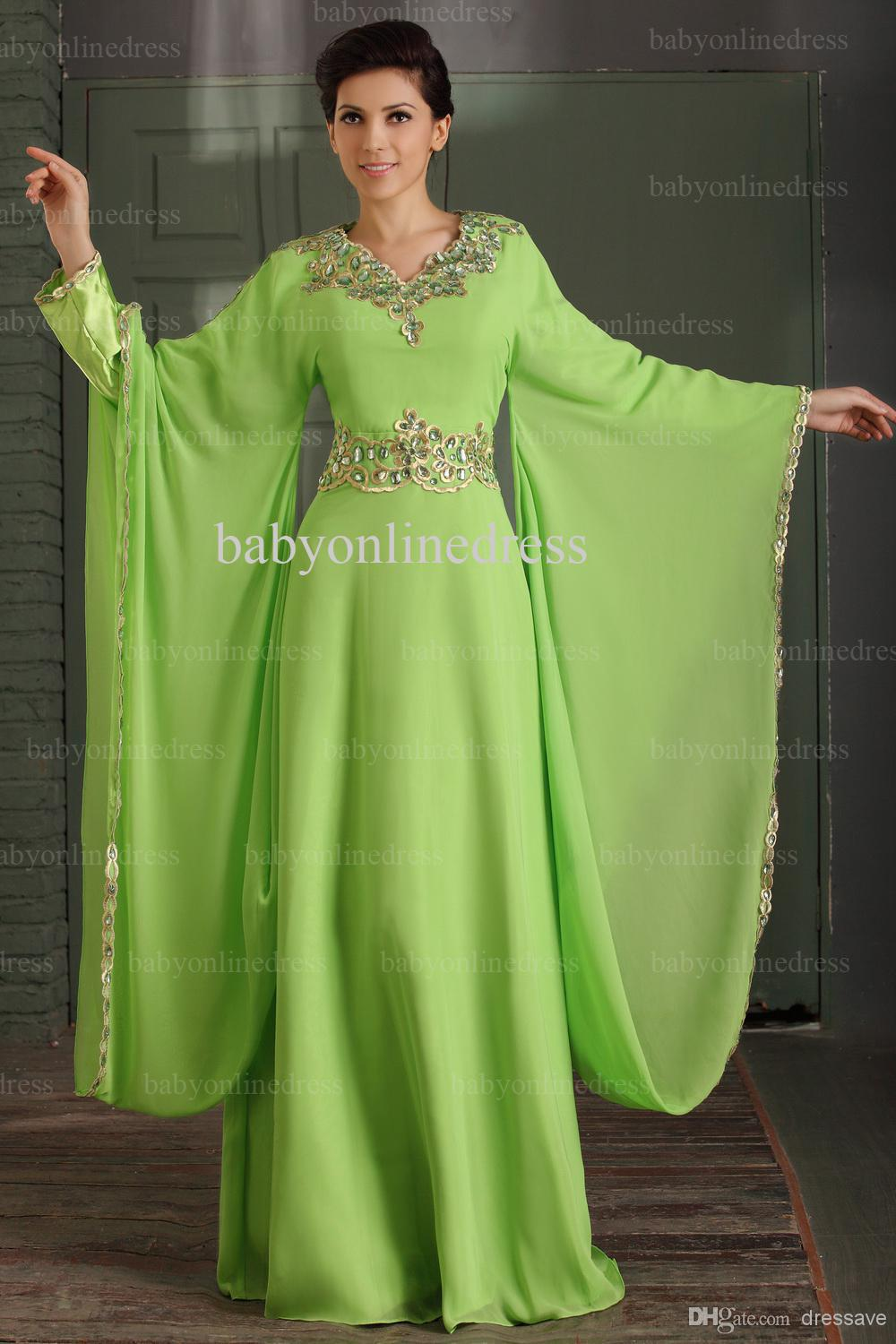 Hot 2018 Floor Length Embroider Maxi Casual Crystal Abaya In Dubai Kaftan Evening Gown Long Sleeve Mother Of The Bride Dresses