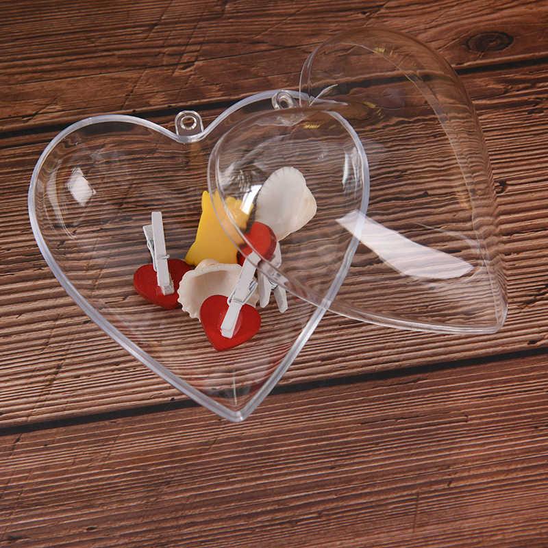 Trasparente Sfera di Plastica Trasparente Gingillo Ornamento di Natale A Forma di Cuore Romantico Albero di natale Regalo di Nozze 120/100mm 1Pc Di Natale decorazione
