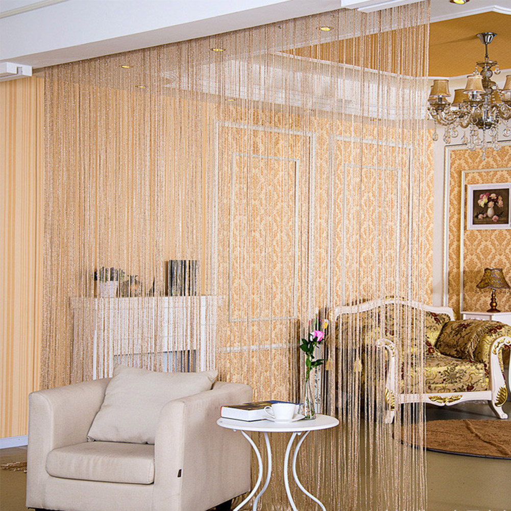 String Curtain Shiny Tassel Line Curtains Window Door Divider Drape Living Room Decor Valance