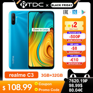 realme C3 RMX2020 6.5'' Global 3GB 32GB Helio G70 Processor 12MP AI Dual Camera HD Mini-drop Fullscreen 5000mAh Mobile Phone