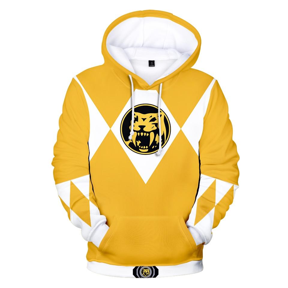 Cosplay Power Rangers Costume Hoodies Sweatshirt Baseball Jacket Jersey Military Yellow Green Ranger Ninja Steel For Teens