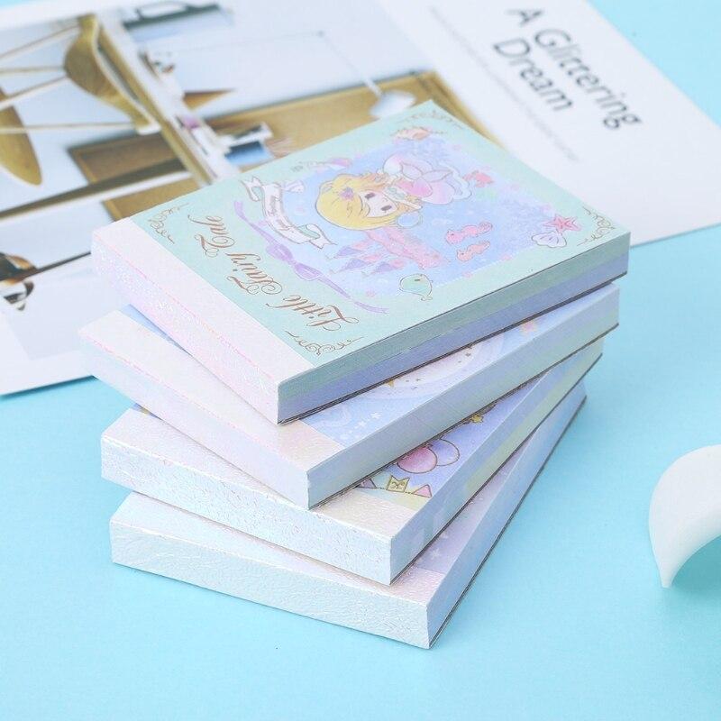 Dibujo de sirena notas recordatorias adhesivas Pad planificador pegatinas cuaderno papelería regalo 4 unids/lote Totoro memo pad My Melody notas adhesivas plegable post papelería accesorios de oficina útiles escolares 6355