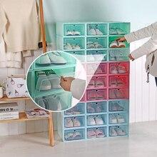Прозрачный ящик чехол для обуви Штабелируемый ящик для мелочей стеллаж для хранения обуви Органайзер