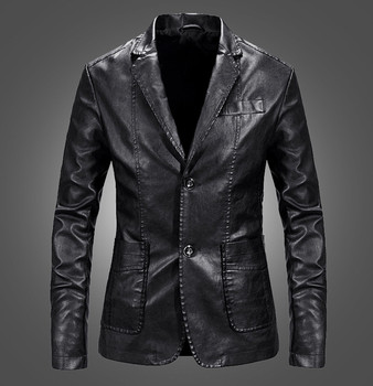 New Hot Sale spring Autumn Men's PU Leather Jacket Male lapel Jacket Casaco Masculino Casual Coat Male Clothing