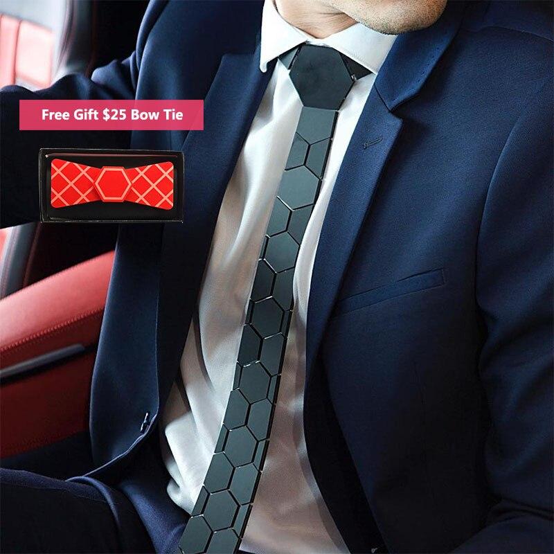 Classy Matte Black Hexagon Ties Stylish Men Neckties 5 Colors Luxury Hexties 5cm Gift Box Formal Dress Accessory Unique Design