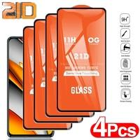 1-4 peças de vidro temperado para xiaomi mi poco x3 pro f3 m3 protetores de tela para redmi nota 10 9 pro 10s 9t 8t 9a 8a 7a 21d vidro