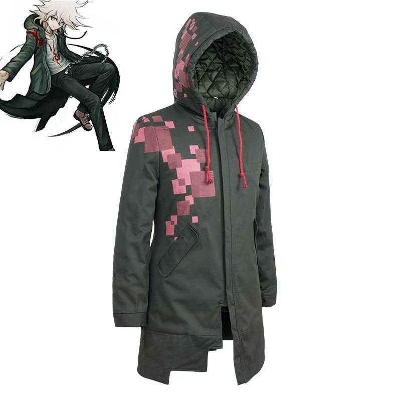 Super Danganronpa Komaeda Nagito Thicken Hooded Jacket Cosplay Costume Dangan Ronpa Autumn Winter Long Trench Coat