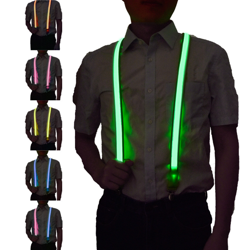 LED Luminous Suspender Men Women Fashion Creative Pure Color 100*2.5CM Flashing Holiday Party Performance High Quality Suspender