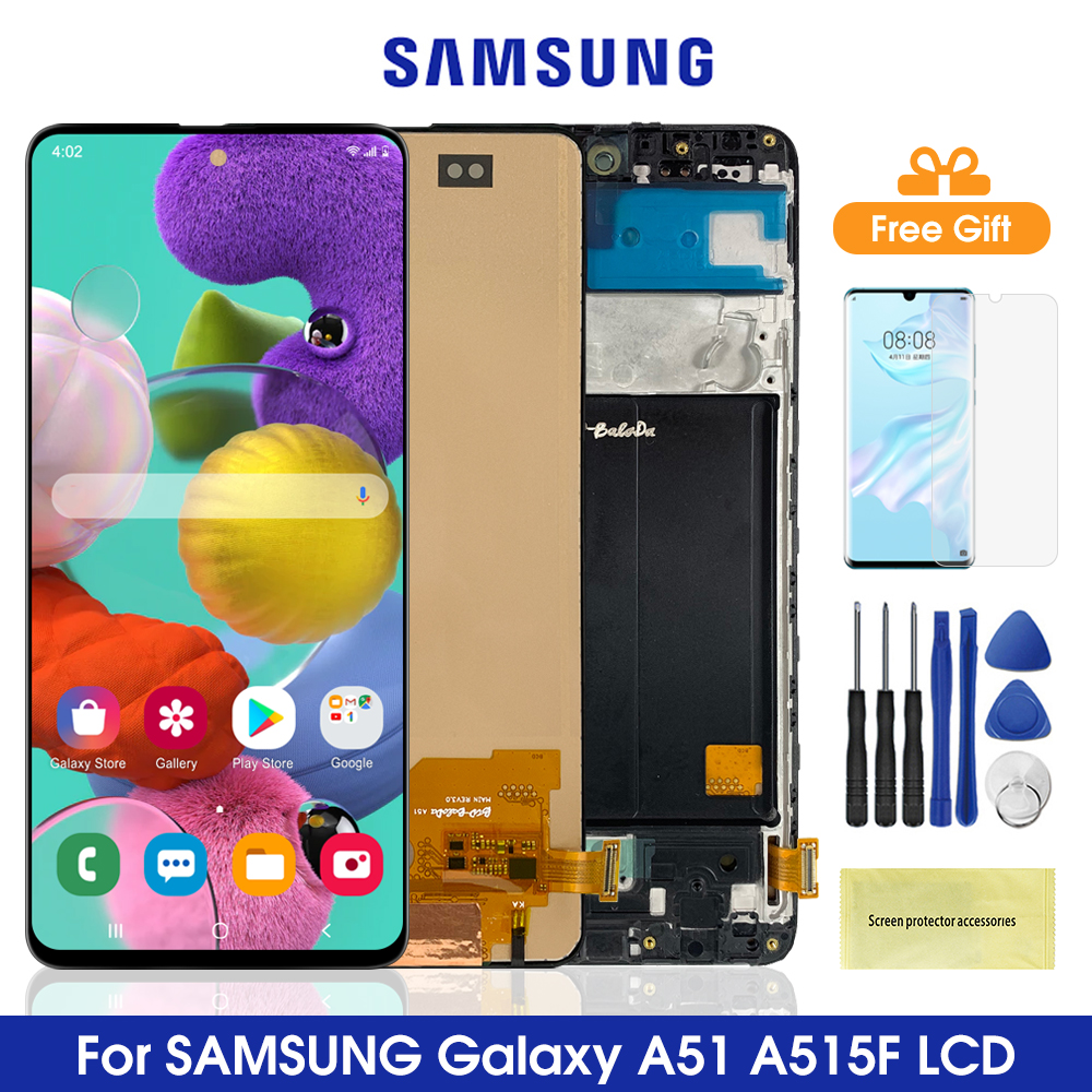 ЖК-дисплей Super Amoled A51 для Samsung Galaxy A51 A515, сенсорный экран с дигитайзером в сборе, детали для Samsung A515 A515FN/DS A515F