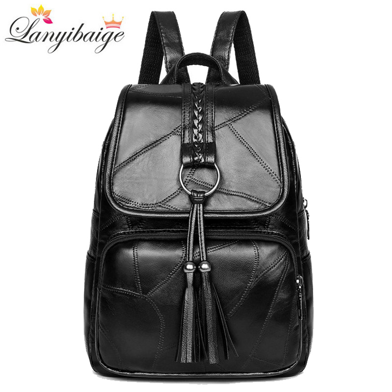 2019 Vintage <font><b>backpack</b></font> women soft <font><b>leather</b></font> <font><b>backpack</b></font> for lady high capacity school bag for girls fashion women traveling <font><b>backpack</b></font> image