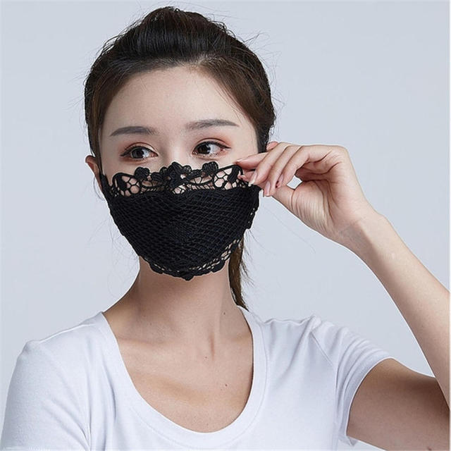 1PC Lace embroidery summer ice silk Korean ladies mask sexy personality breathable sunscreen mask White Black Blue Wholesale 4