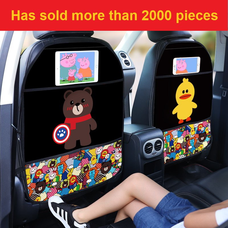 1PCS Car Seat Back Cover Protector for Kids Cartoon Car Anti Kick Mat with Bag Waterproof Car Seat Back Protector Anti Kick Pad