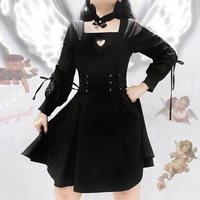 Gothic 2019 Autumn Women Gothic Dress with Chocker Lace Up Long Sleeve Vintage Lolita Dress Girls Harajuku Black Tunic Vestido