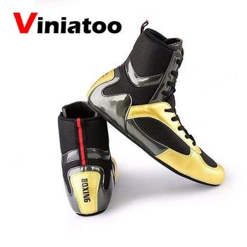 Nuevos zapatos profesionales de boxeo hasta el tobillo, zapatos de lucha ligera dorados para hombre, botas de boxeo transpirables, zapatillas de lucha antideslizantes