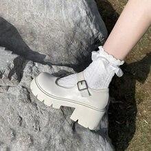 Zapatos de estilo japonés Lolita para mujer, zapatillas de plataforma de tacón alto suave Vintage, zapatos Mary Jane estudiantes universitarios, color blanco