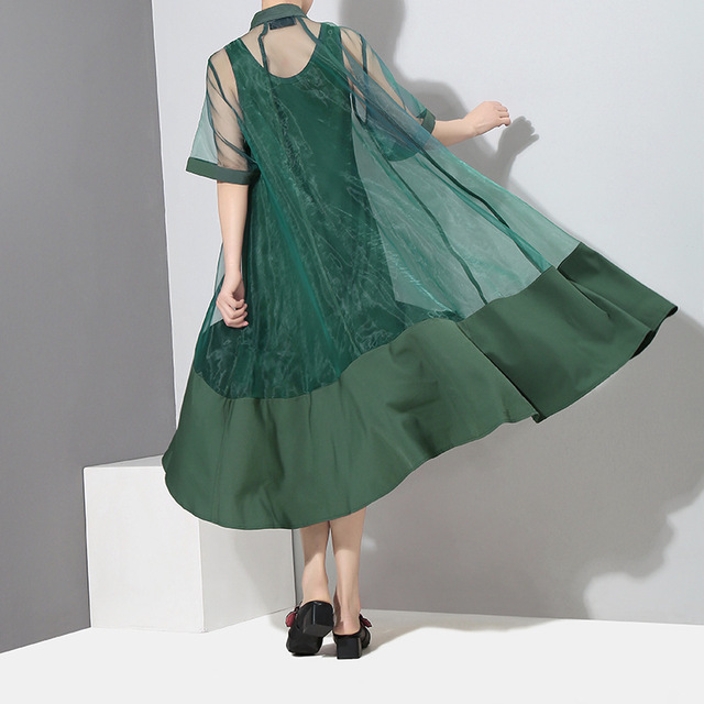 [EAM] Women Green Organza Irregular Shirt Dress New Stand Collar Half Sleeve Loose Fit Fashion Tide Spring Summer 2021 JT581 6