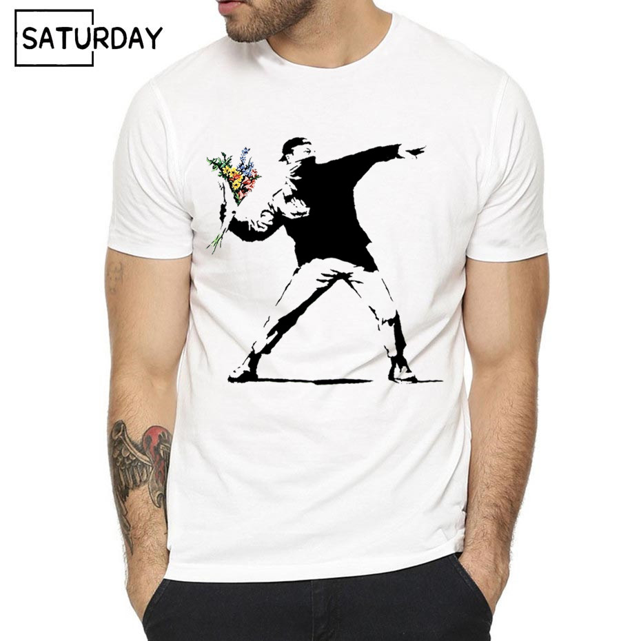 Men Flower Thrower Banksy Panda Guns Urban Art T-shirt Women Summer Unisex Short Sleeves O-Neck Hipster T-shirt Casual Clothes