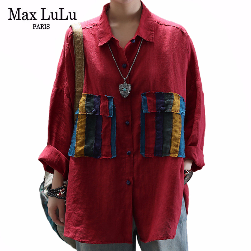 Max LuLu New 2020 Spring Korean Fashion Ladies Linen Tops Womens Vintage Patchowork Shirts Casual Streetwear Blouses Plus Size