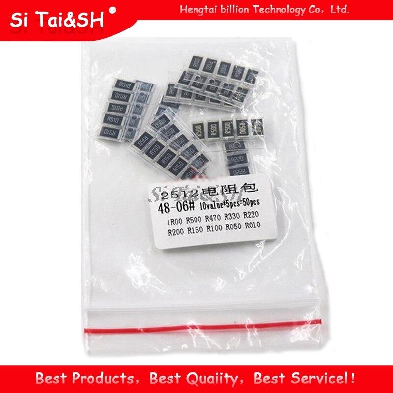 50 шт. сопротивления сплава 2512 SMD комплект образцов резистора, 10 kindsX5pcs = 50 шт. R001 R002 R005 R008 R010 R015 R020 R025 R050 R100