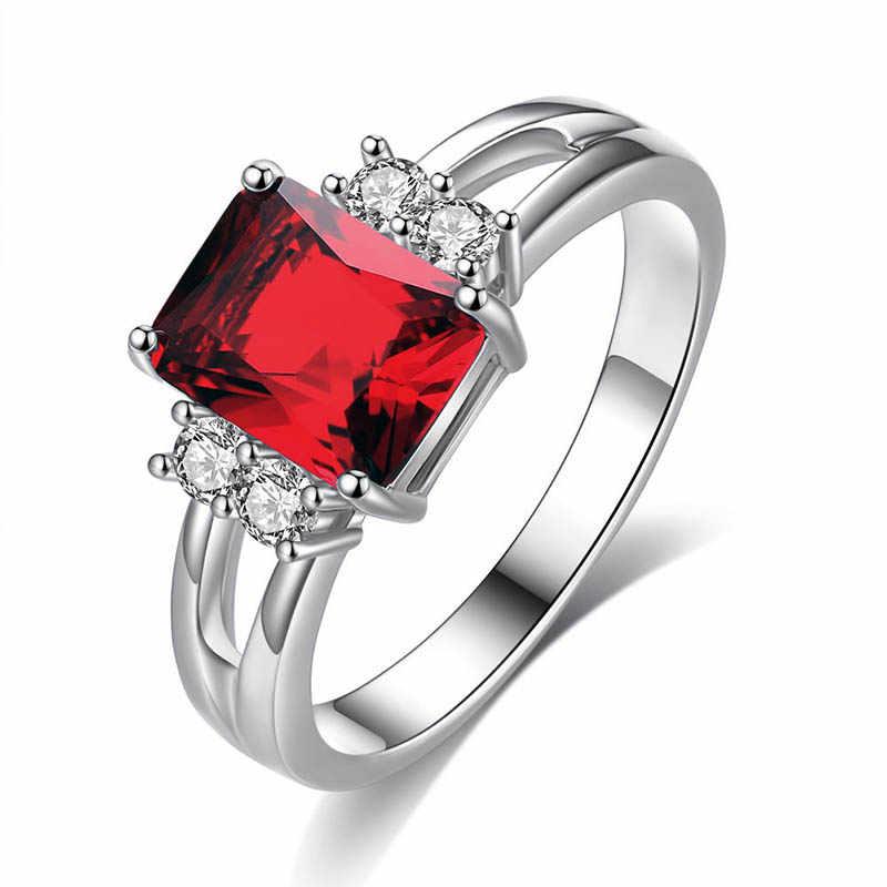 Cellacity klasyczne luksusowe 925 srebrny pierścień z prostokąt sapphire kamień dla kobiet srebrny biżuteria zaręczynowy prezent hurtownie