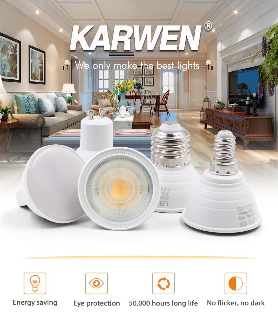 H8ce7830b900b42b6b59285e730c3bd55r - KARWEN Lampada LED Lamp 6W GU10 GU5.3 MR16 E27 E14 LED Bulb 220V Bombillas LED Spotlight Lampara Spot Light for living room