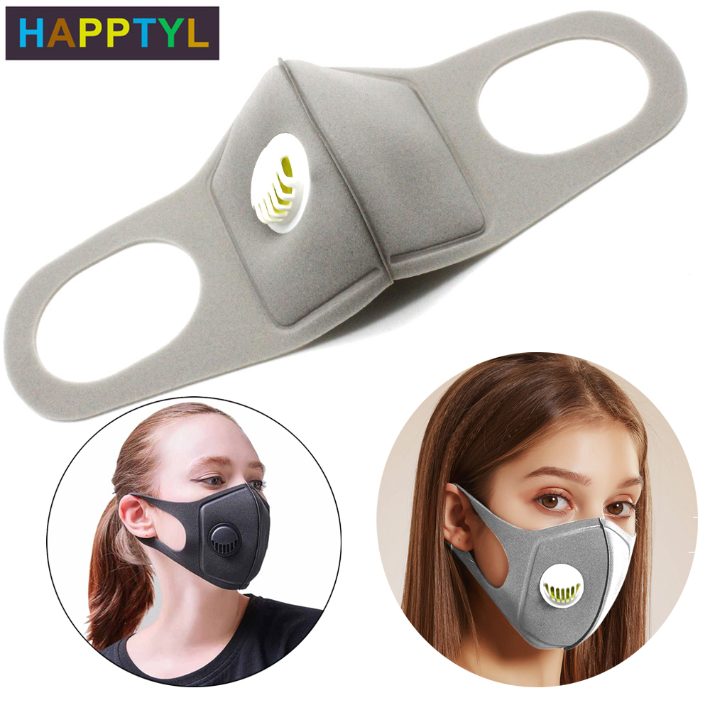 HAPPTYL 1Pcs Sponge Dust Masks With Breathing Valve, Washable Double-layer Filtration Anti Pollution Mask