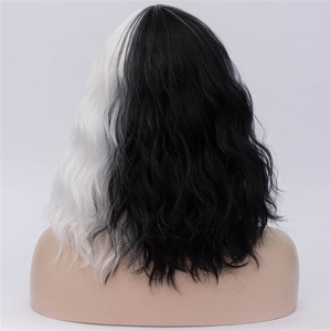 Image 2 - MSIWIGS Black and White Cosplay Wigs for Women Wavy Short Synthetic Wig Purple Rainbow Heat Resistant