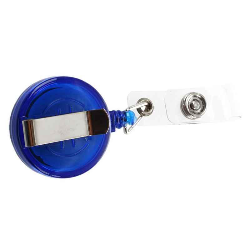Passe-Ski rétractable porte-Badge de carte d'identité porte-clés bobines avec pince bleu foncé