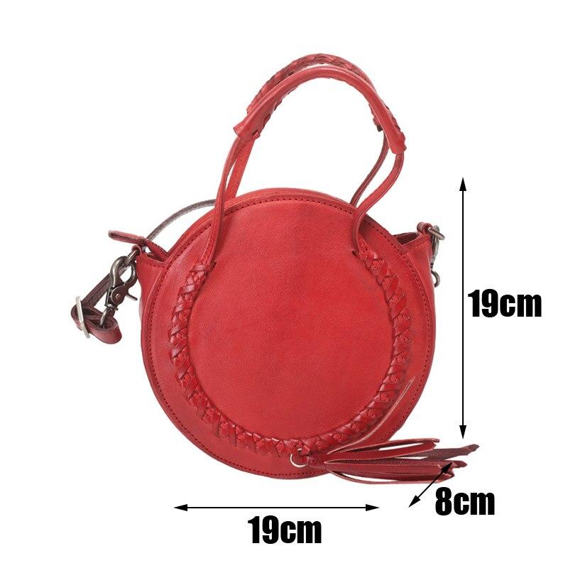 Bolso redondo de cuero rojo de EUMOAN, bolso con diseño oblicuo para mujer, 2019 retro literario stream su pequeño bolso redondo - 6
