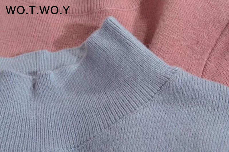 WOTWOY 19 Cashmere Knitted Women Sweater Pullovers Turtleneck Autumn Winter Basic Women Sweaters Korean Style Slim Fit Black 15